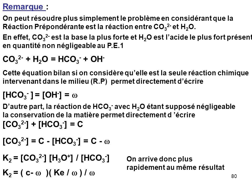 Remarque : CO32- + H2O = HCO3- + OH- [HCO3- ] = [OH-] = w